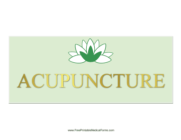 Acupuncture Sign Medical Form