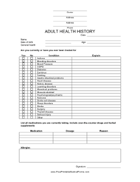 Adult Health History Form Medical Form