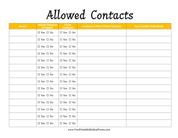 Allowed Contacts Medical Form