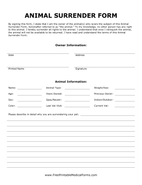 Animal Surrender Form Medical Form