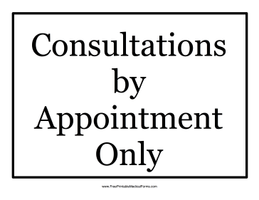 Appointment Only Sign Medical Form