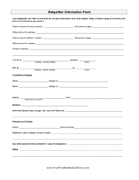 Babysitter Information Form Medical Form