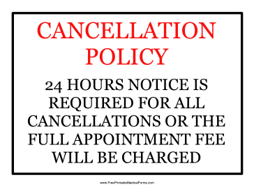 Cancellation Policy Medical Form