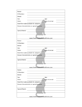 Cat Adoption 3x5 Cage Card Medical Form
