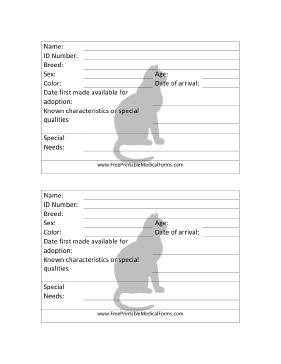 Cat Adoption 4x6 Cage Card Medical Form