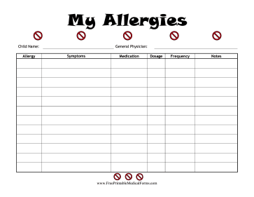 Child Allergies Log Medical Form