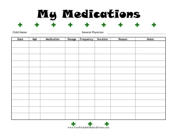 Child Medications Log Medical Form