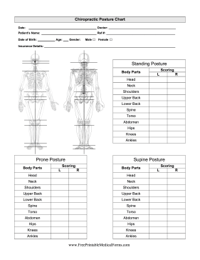 Chiropractor Posture Chart Medical Form