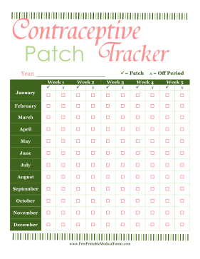Contraceptive Patch Tracker Medical Form