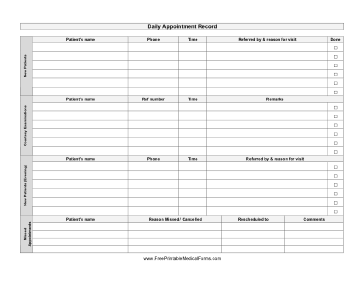 Daily Appointment Record Medical Form