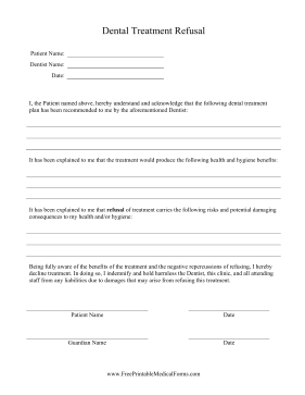 Dental Treatment Refusal Medical Form