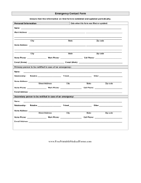 Detailed Emergency Contact Form Medical Form