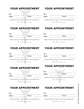 Doctor Appointment Treatment Reminder Cards Medical Form