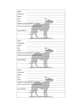Dog Adoption 3x5 Cage Card Medical Form
