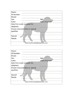 Dog Adoption 4x6 Cage Card Medical Form
