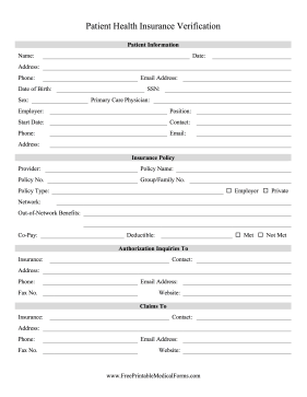 Health Insurance Verification Medical Form
