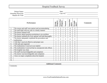 Hospital Feedback Survey Medical Form