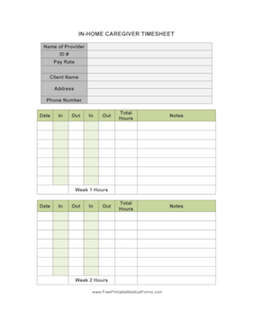 In-Home Caregiver Timesheet Medical Form