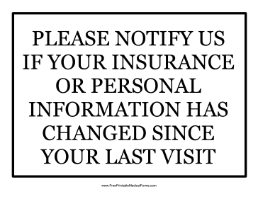 Insurance Change Sign Medical Form