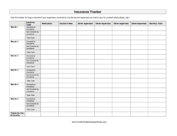 Insurance Tracker Medical Form