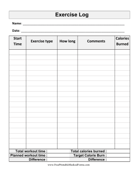 Large-Print Exercise Tracker Medical Form