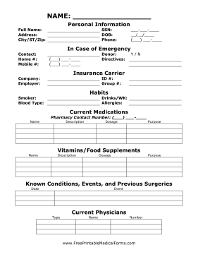 Medical Information Sheet Medical Form