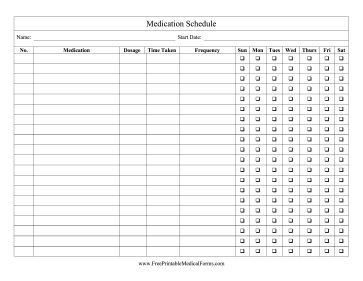 Medication Schedule Checklist Medical Form
