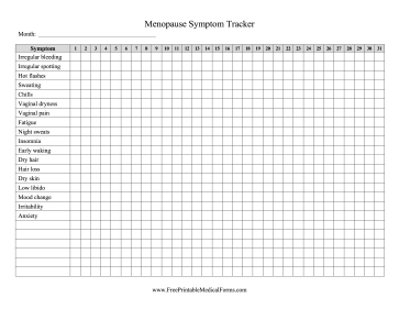 Menopause Symptom Tracker Medical Form