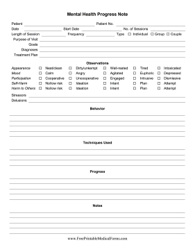 Mental Health Progress Notes Medical Form