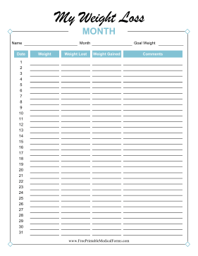 Monthly Weight Loss Tracker Colorful Medical Form