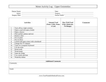 Motor Activity Log Upper Extremities Medical Form