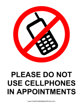 No Cellphones Sign Medical Form