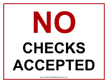 No Checks Accepted Sign Medical Form