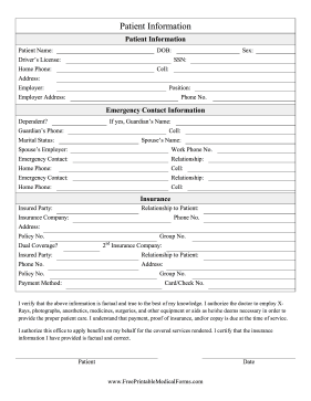 Patient Information Form Medical Form