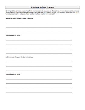 Personal Affairs Sheet Medical Form