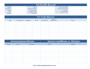 Pet Health Record Medical Form