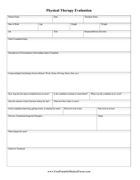 Physical Therapy Evaluation Form Medical Form