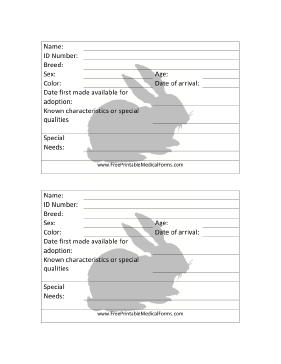 Rabbit Adoption 4x6 Cage Card Medical Form
