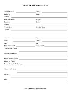 Rescue Animal Transfer Form Medical Form