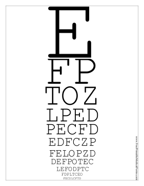 Snellen Eye Chart Medical Form