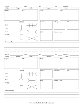 Surgery Scutsheet Medical Form