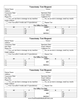Vasectomy Test Request Medical Form