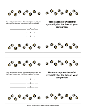Veterinary Euthanasia Card Medical Form