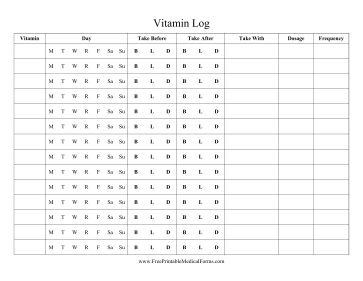 Vitamin Log Medical Form