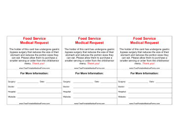 Weight Loss Surgery Wallet Card Medical Form