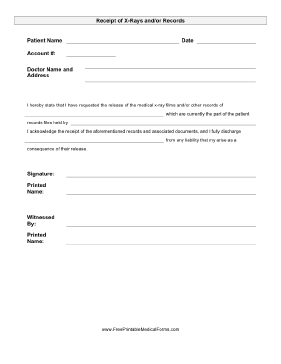 X-ray Release Form Medical Form
