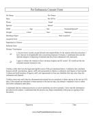 Pet Euthanasia Consent Form