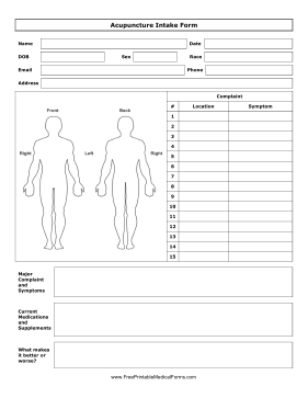Printable Acupuncture Intake