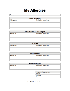 My Allergies Medical Form