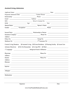 Printable Assisted Living Admission Form